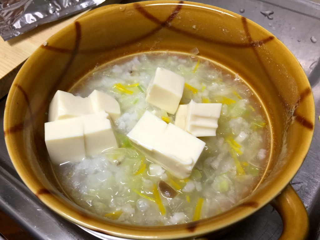 4.豆腐を入れる。