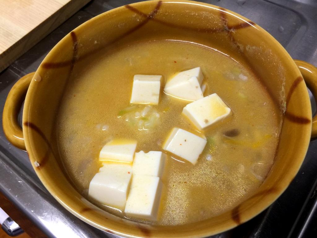 5.お玉一杯分のスープを加えて500W 3分加熱。
