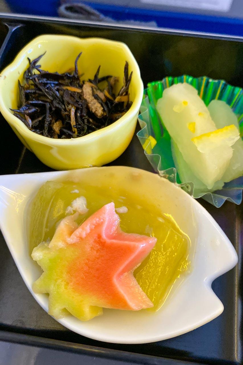 ひじきの煮物、焼き茄子お浸し 鶏そぼろ餡かけ、柚子大根