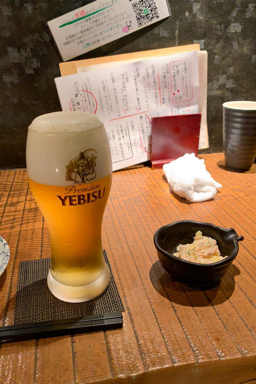 生ビールとポテトサラダ