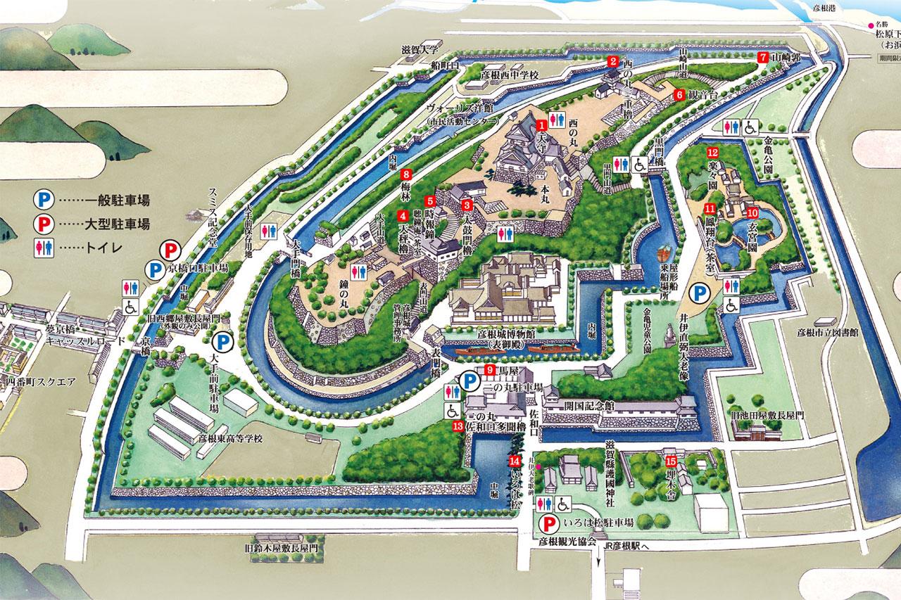 彦根観光協会 彦根城案内地図