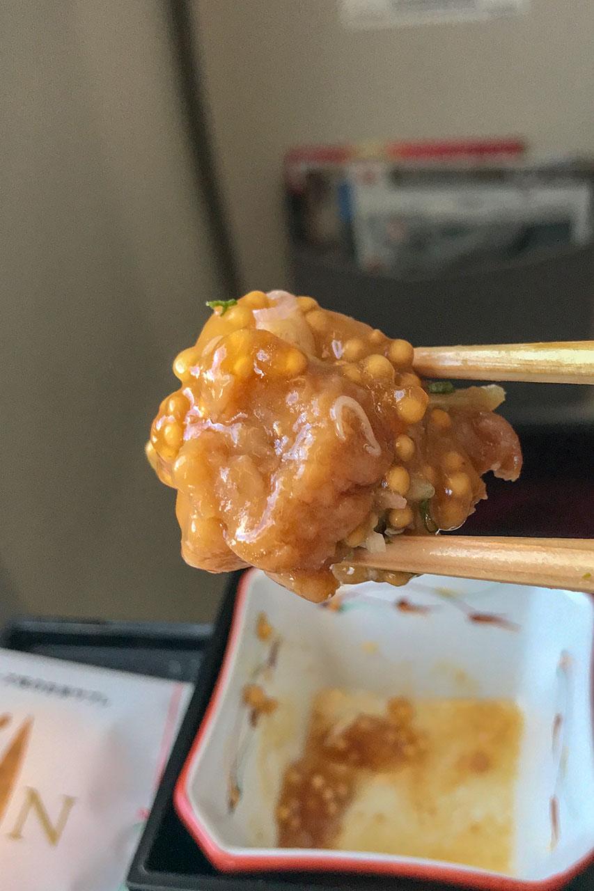 豚角のタスマニアン粒マスタード餡かけ