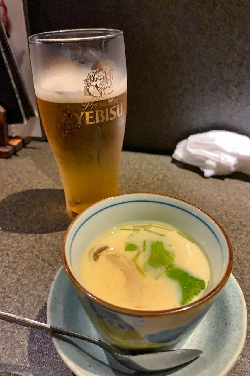 茶碗蒸しとビール